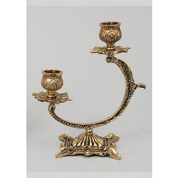 Пара канделябров из бронзы 2 свечи virtus золото 16х14см 4102