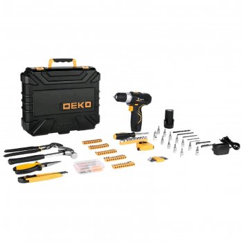 Дрель-шуруповерт deko gcd12du3 и набор инструментов deko, 12 в, 1.5 ah, 19