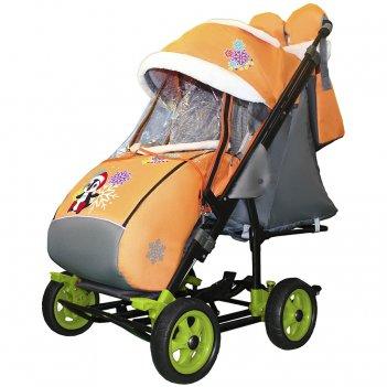 Санки-коляска snow galaxy city-3-1 пингвин на оранжевом на больших колёсах