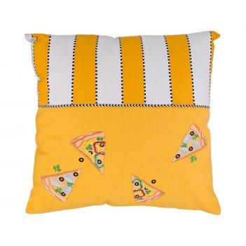 Подушка декоративная 45х45 пицца, 100% х/б,жёлтый+белый , вышивка