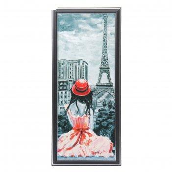 Картина дама в красной шляпке 53*23 см