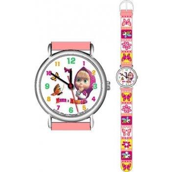 Часы наручные бабочки, цветы (розовые) маша и медведь