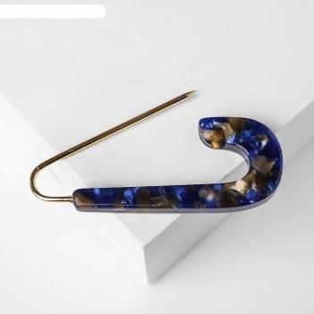 Булавка пластик круг мини мрамор, 6см, цвет синий в золоте