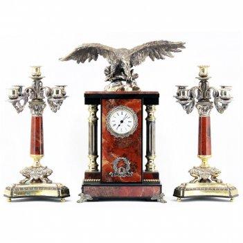 Каминные часы с канделябрами орел яшма