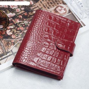 Обложка для автодокументов и паспорта, отдел для купюр, кайман, цвет красн