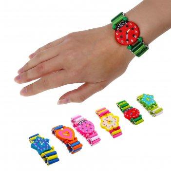 Часы детские, на резиночке, фигурные, цвета микс