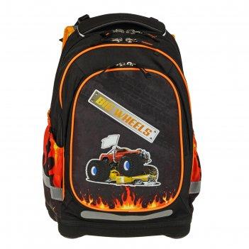 Рюкзак школьный target 44*32*17 для мальчика «большие колеса», чёрный