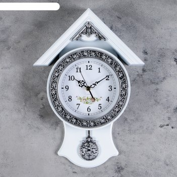 Часы настенные, серия: маятник, белый домик, 29х40 см, дискретный ход