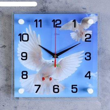 Часы настенные квадратные голуби, стекло, 25х25 см