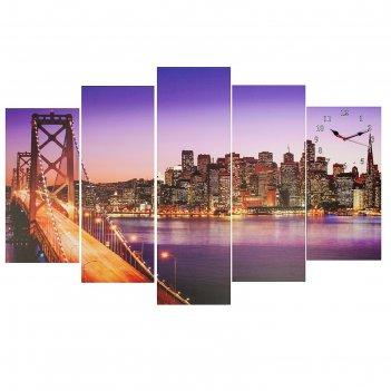 Часы настенные модульные «манхэттенский мост», 80 x 140 см