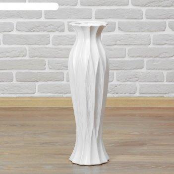 Ваза керамика напольная день ночь 60 см вкрапления талия белая