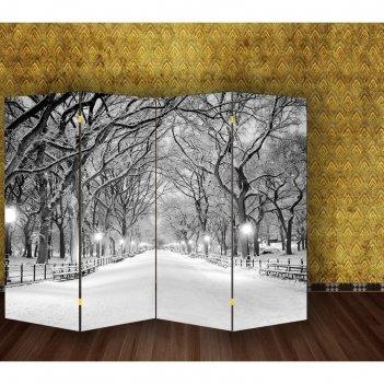 Ширма зимний парк, двухсторонняя, 200 x 160 см