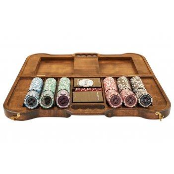 Набор для покера ultimate на 300 фишек в резном кейсе