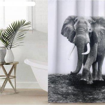 Штора для ванной 180х180 см слон, полиэстер