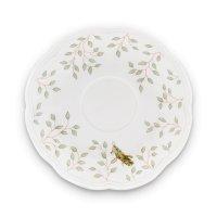 Блюдце для чайной чашки «бабочки на лугу», диаметр: 15 см, материал: костя