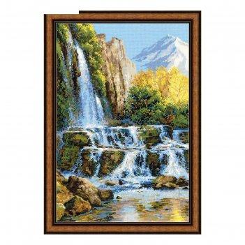 Набор для вышивания крестиком пейзаж с водопадом  1194