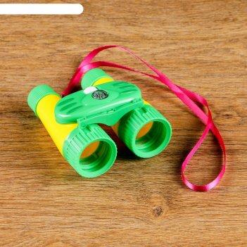 Бинокль 7х, детский, пластик, компас, микс, 10х12 см