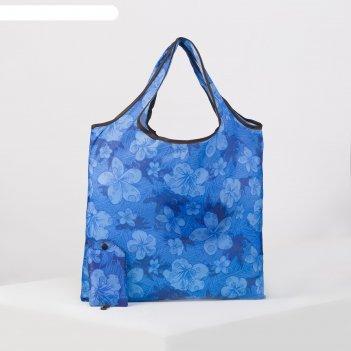 Сумка хоз складная цветы, 36*0,5*36 см, 1 отдел, с карабином, синий