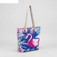 Сумка женская пляжная фламинго, 35*40 см