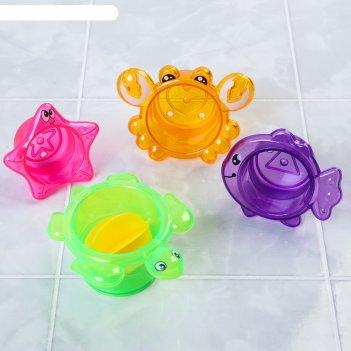 Игрушки для купания «морские стаканчики », 4 предмета, цвет микс