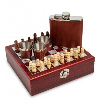 Gt-01 подарочный набор фляжка 150 мл со стопками шахматы