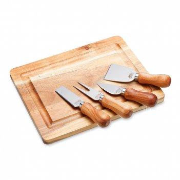 Набор для сыра: доска и 4 ножа, материал: нержавеющая сталь, дерево, серия