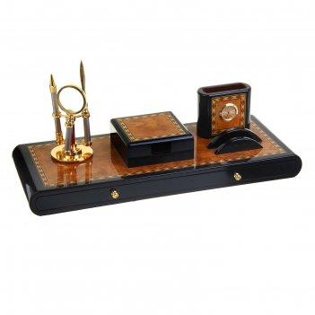 Набор настольный 6 в 1: блок для бумаги, часы с подставкой, подставка для