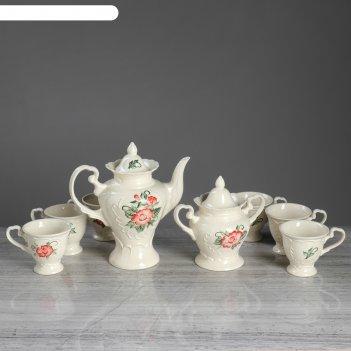 Чайный сервиз ева гжель, гладкий, 8 предметов: чайник-0,5 л, сахарница, 6
