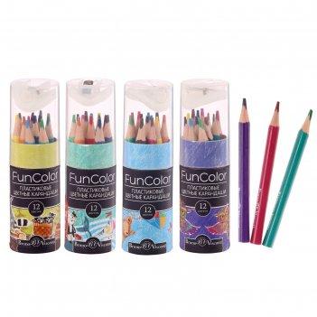 Карандаши 12 цветов укороченные funcolor пластиковые, в картонной тубе, ми