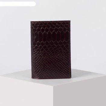 Обложка для паспорта опк-001, 9,5*0,5*13,5см, наплак питон бордо 570