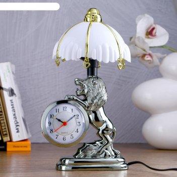 Часы-светильник царь зверей, с будильником, 27х12 см