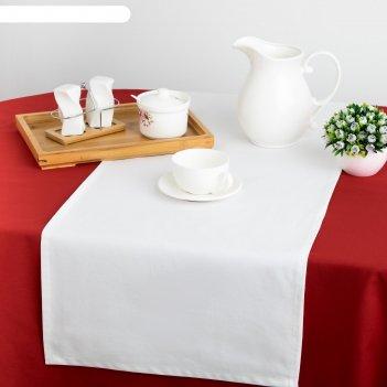 Дорожка на стол этель 40х140, саржа, цвет белый, 100% хл