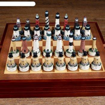 Шахматы сувенирные морской ориентир (доска 36х36х6 см, король h=8 см, пешк