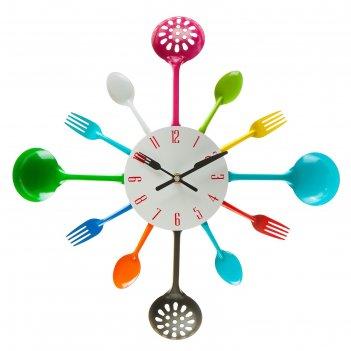 Часы настенные столовые приборы, вилки/ложки/поварешки/шумовки цветные, d=