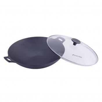 Cковорода чугунная wok 30см со стеклянной крышкой kamille km-4814v