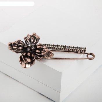 Булавка цветок, 8,5см, цвет серый в чернёном розовом золоте