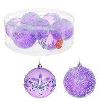 Набор шаров пластик d-10 см (набор 7 шт) воздушный фиолет цветы