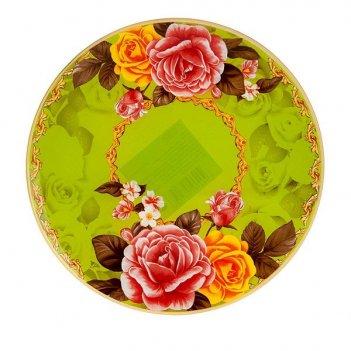 Блюдо сервировочное розы d=25см. (min6) (стекло) (транспортная