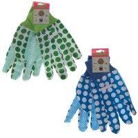 Перчатки садовые, размер m, синий и зеленый