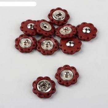 Кнопка пришивная, d=16мм, 5шт, цвет коричневый