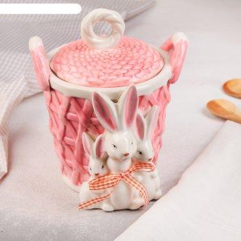 Банка для сыпучих продуктов зайчата 15,5х16х19 см, цвет розовый