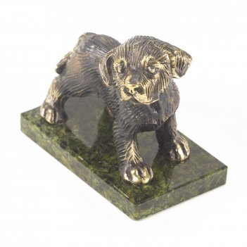 Статуэтка собачка большая №1 бронза змеевик 70х40х65 мм 334 гр