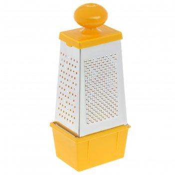 Тёрка четырёхгранная с пластиковой ручкой и контейнером, цвет микс