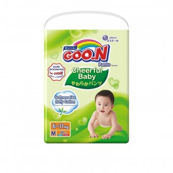 Подгузники-трусики goo.n cheerful baby m 6-11 кг), 54шт.