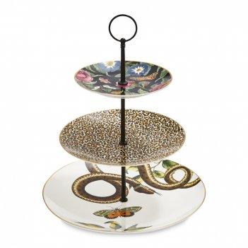 Этажерка трехъярусная, диаметр: 26,5 см, материал: фарфор, цвет: декор, се