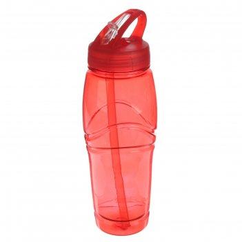 Фляжка-бутылка для воды ромбики, 700 мл, с отсеком для льда, красная, 6х7х