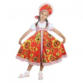 Русский народный костюм хохлома, платье, кокошник, цвет красный, р-р 36, р