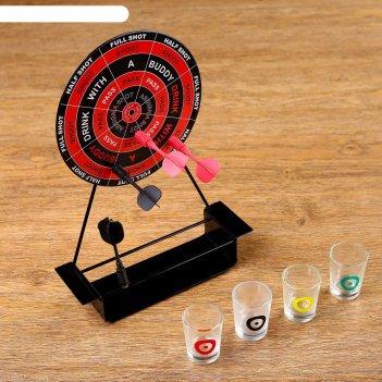 Алкоигра пьяный дартс на подставке: 4 рюмки