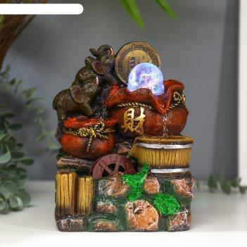 Фонтан настольный от сети, подсветка слоны и китайская монета 20,5х14х11 с