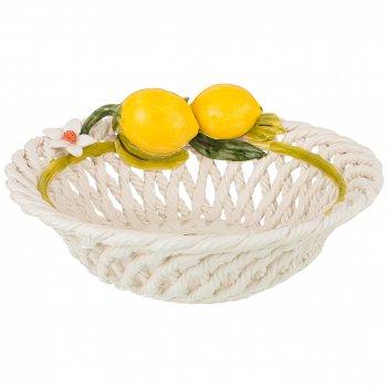 Изделие художественно-декоративное блюдо круглое с лимонами высота 10 см